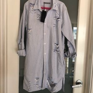LF Distressed style shirt dress
